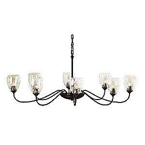 Oval Eight Arms Chandelier With Water Glass by Hubbardton Forge