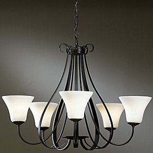 Sweeping Taper Five Arms Chandelier by Hubbardton Forge