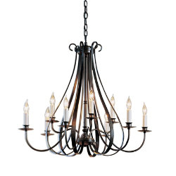 Sweeping Taper Nine Arms Chandelier by Hubbardton Forge