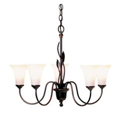 Forged Leaves Five Arms Glass Chandelier by Hubbardton Forge