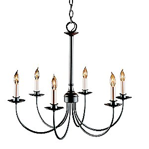 Simple Lines Six Arms Chandelier by Hubbardton Forge