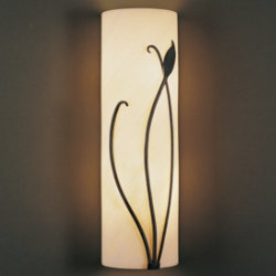Forged Leaf and Stem Wall Sconce With Faux Alabaster by Hubbardton Forge