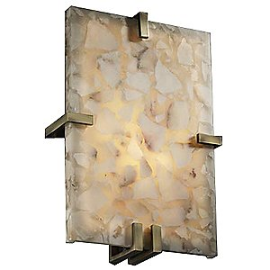 Alabaster Rocks! Clips Rectangle Wall Sconce by Justice Design