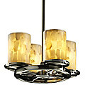 Alabaster Rocks! Dakota Straight Stem Chandelier by Justice Design