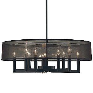 Silhouette 10-Light Large Shade Chandelier by Sonneman