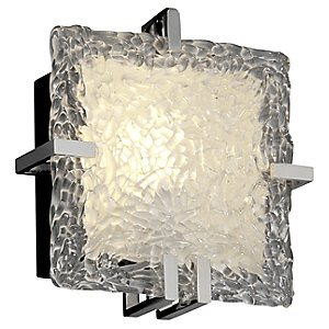 Veneto Glass Clips Square Wall Sconce by Justice Design