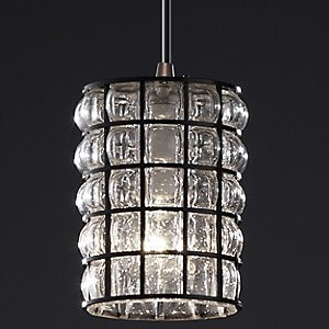 Wire Glass Clear Grid Mini Pendant by Justice Design