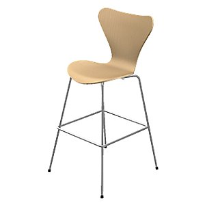 Series 7 Bar Stool - Natural Veneer by Fritz Hansen