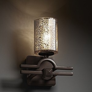 Fusion Mercury Glass Argyle Cylinder Wall Sconce by Justice Design