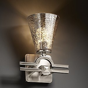 Fusion Mercury Glass Argyle Cone Wall Sconce by Justice Design
