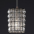 Wire Glass Clear Grid Mini Pendant by Justice Design - OPEN BOX RETURN
