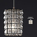 Wire Glass Clear Grid Mini Pendant by Justice Design (Nickel) - OPEN BOX RETURN