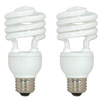 18W 120V T2 E26 Mini Spiral CFL Bulb (Pack of 2)