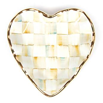 Parchment Check Fluted Heart Plate