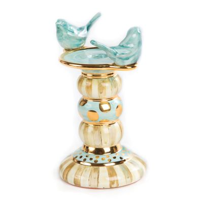 Parchment Stripe Bird Candlestick - Tall