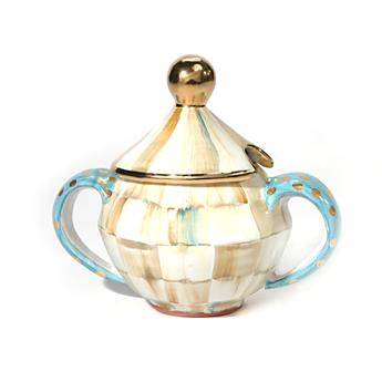 Parchment Check Sugar Bowl with Lid