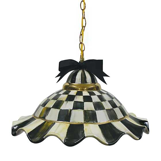 Fluted Hanging Lamp - Courtly Check