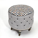 Courtly Check Underpinnings Small Drum Ottoman
