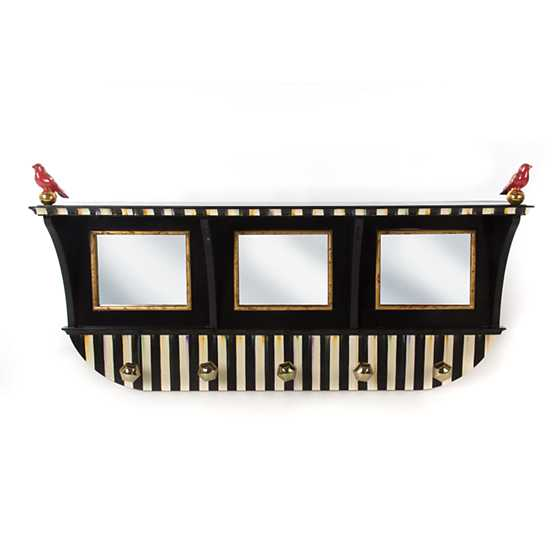 Courtly Stripe Wall Mount Coat Rack - Black