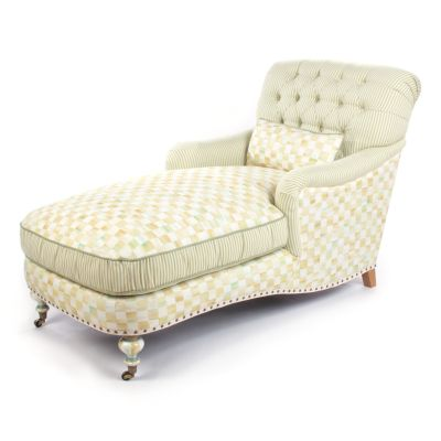 Parchment Check Underpinnings Chaise