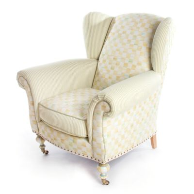 Parchment Check Underpinnings Classic Wing Chair
