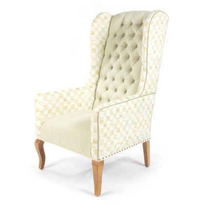 Parchment Check Underpinnings Host Chair