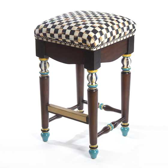 Mackenzie Childs Courtly Check Underpinnings Counter Stool