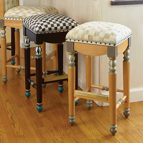 Mackenzie Childs Parchment Check Underpinnings Bar Stool