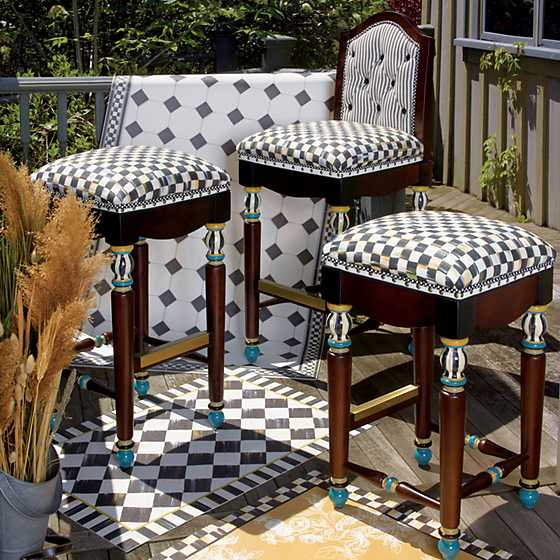 Mackenzie Childs Courtly Check Underpinnings Bar Stool