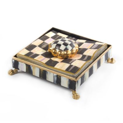 Courtly Check Cocktail Napkin Holder Set - Gold