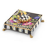 Black Flower Market Cocktail Napkin Holder Set