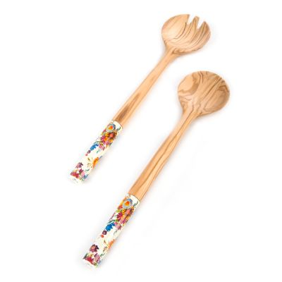 Flower Market Olivewood Salad Serving Set