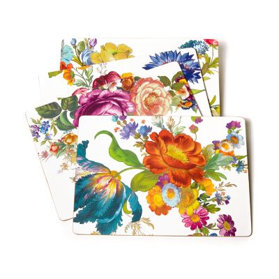 Flower Market Placemats - White - Set of 4