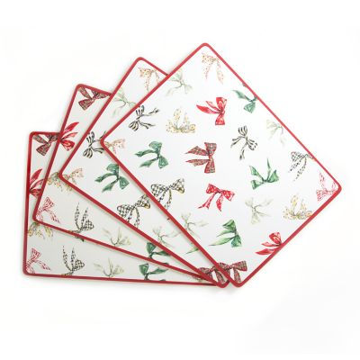 Holiday Bows Cork Back Placemats - Set of 4