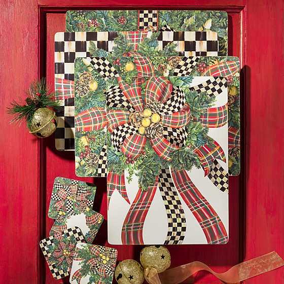 Mackenzie Childs Evergreen Cork Back Placemats Set Of 4