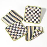 Courtly Check Reversible Coasters - Set of 4