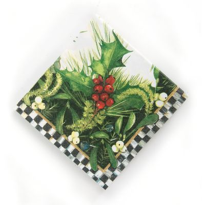 Holly & Berry Paper Napkins - Cocktail