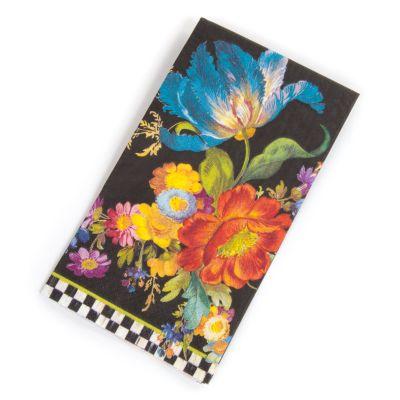 Flower Market Paper Napkins - Guest - Black