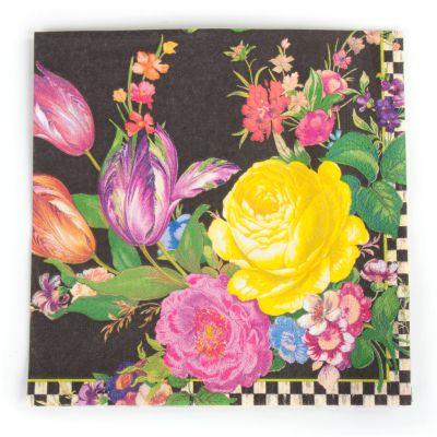 Flower Market Paper Napkins - Dinner - Black
