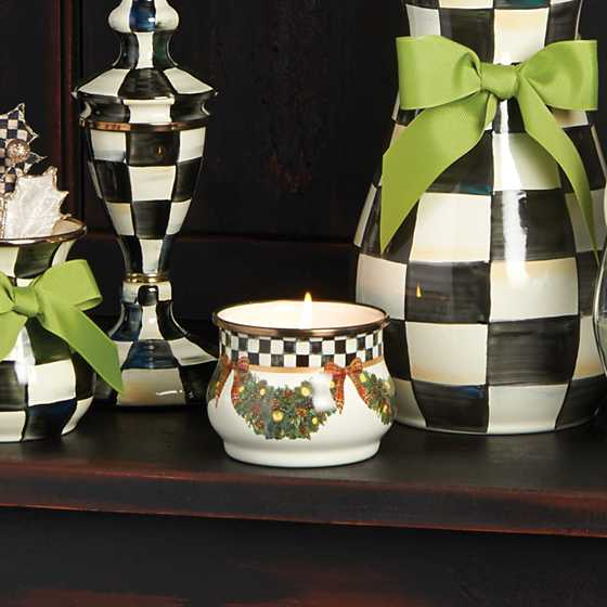 Mackenzie Childs Evergreen Enamel Winter Candle