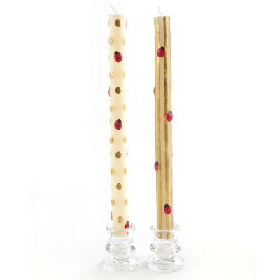 Ladybug Taper Candles - Gold - Set of 2