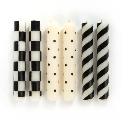 Black & White Mini Taper Candles - Set of 6