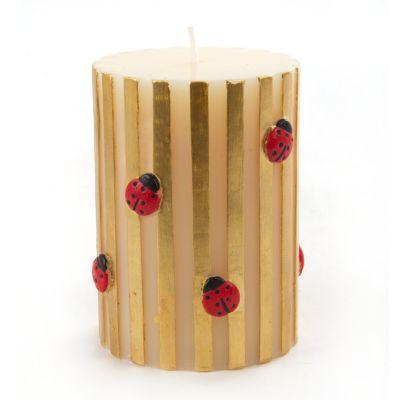 Ladybug Pillar Candle - Gold