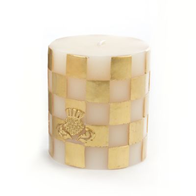 Gold & White Check Pillar Candle - 3""