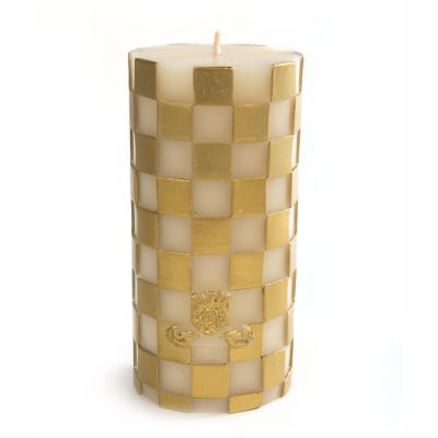 Gold & White Check Pillar Candle - 6""