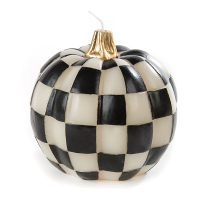 Black & White Check Pumpkin Candle