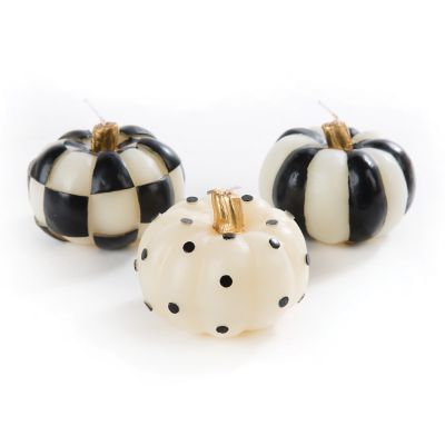 Black & White Mini Pumpkin Candles - Set of 3