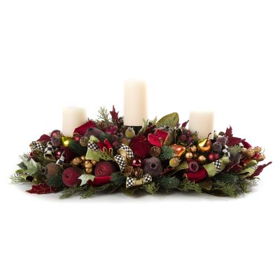 Yuletide Manor Triple Candle Centerpiece