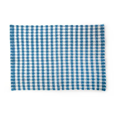 Oxford Blue Houndstooth Scatter Rug  - 2' x 3'