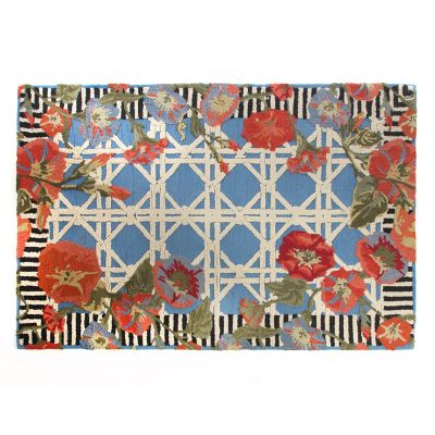Blue Morning Glory Indoor/Outdoor Rug - 8' x 10'